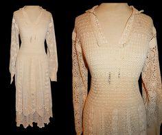 Vintage 70's Ecru Irish CROCHET Floral Illusion Hippie Dress // 1970's BOHO…