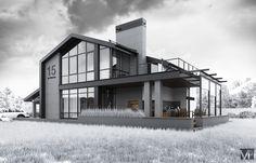 Архитектурный проект дома площадью 250 м2. Современный стиль жилого дома, жилой дом с мансардой, фасад дома в современном стиле Projects, Home, Log Projects, Blue Prints, Ad Home, Homes, Haus, Houses