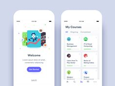 Online Courses App - Onboarding & My Courses views app social navigation ecommerce minimal walkthrough log in onboarding education android ios Web Design, Ios App Design, User Interface Design, Flat Design, Ui Design Mobile, Mobile Application Design, Design Thinking, Site Inspiration, Mobile App Ui