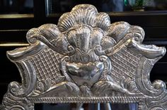 Antique-Flaming-Heart-Sterling-Frame-Mirror-Peru-Spanish-So-American-Large