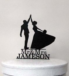 This Custom High Five Wedding Cake topper comes with    Personalized Mr & Mrs name Please send me a note about your name when you place an order.