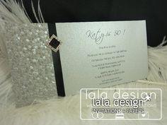 Shimmery silver with black ribbon 30th birthday invitation