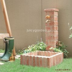 juicygarden | Rakuten Global Market: Until now most like a brick! RangeType garden falling water faucet ネオキャスティ stand water faucet pillar tap 2 pieces, with auxiliary faucet. Gardening garden exterior brick water #gardenfaucet #OutdoorFaucets #watergardens