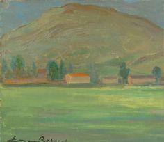 E. Besozzi pitt. 1952 Paesaggio (Verbania) olio su masonite cm. 22,7x25 arc. 124
