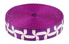 Country Brook Design™ 1 Inch Purple Pinwheels Ribbon on Purple Heavy Nylon Webbing