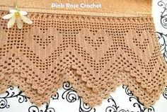 Pink Rose Crochet: Barred with Heart on Tips Crochet Boarders, Crochet Lace Edging, Filet Crochet, Crochet Baby, Knit Crochet, Crochet Patterns, Crochet Curtains, Lace Heart, Crochet Kitchen