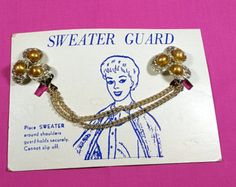 VINTAGE SWEATER GUARD Gold Tone Sweater Clips on Original Package Card 1960's Mid Century Accessory