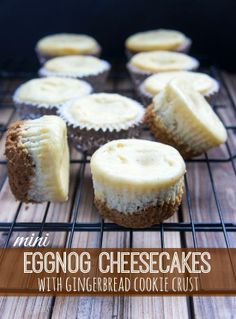 Mini Eggnog Cheesecakes with Gingerbread Cookie Crust. my sister would love this These mini Eggnog Cheesecakes with Gingerbread Cookie Crust are simple to make and are filled to the brim with holiday flavor. Mini Desserts, Holiday Baking, Christmas Desserts, Christmas Baking, Just Desserts, Delicious Desserts, Christmas Cupcakes, Easter Cupcakes, Flower Cupcakes