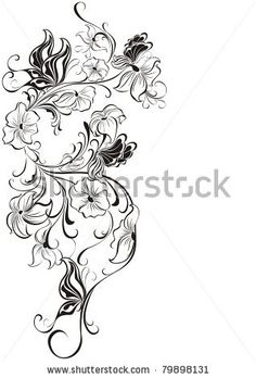 Vector floral frame from flowers and butterflies