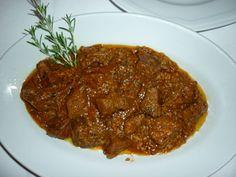 Cinghiale alla Cacciatora: wild boar stew from Maremma Tuscany Italy.