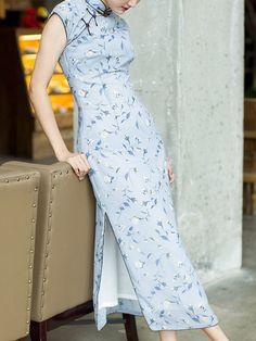 Blue Floral Chiffon Long Qipao / Cheongsam Dress