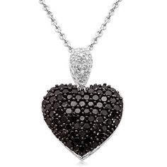 """$655 : Sterling Silver Black and White Diamond Puffed Heart Pendant Necklace (1 cttw, I-J Color, I2-I3 Clarity), 18"""""""