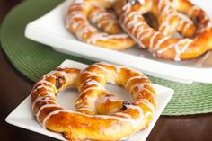Buttery, soft, and chewy, these raisin filled pretzels are so good drizzled in a vanilla glaze.