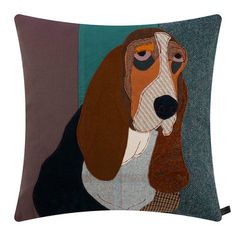 Buy Carola van Dyke Lucien the Basset Pillow - Modern Upholstery Fabric, Cushions On Sofa, Pillows, Applique Quilt Patterns, Sewing Patterns, Dog Quilts, Sewing Projects For Kids, Patchwork Designs, Decorative Cushions