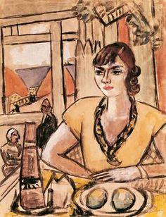 Max Beckmann - Quappi am Strand Café (1935)
