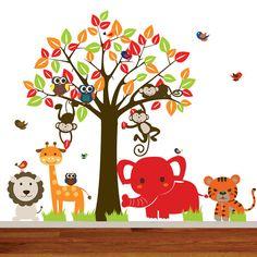 Vinyl Wall Decal Mural Giraffe,elephant,monkey nursery wall decal sticker vinyl tree jungle decals