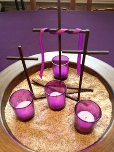 """Family At The Foot Of The Cross: A Peek Into Our Purple (Lenten) World. """"Lenten Desert"""" centerpiece and so many other Lenten decoration ideas. Catholic Lent, Catholic Religion, Prayer Stations, Lenten Season, Altar Decorations, Church Banners, Holy Week, Easter Crafts, Bible Crafts"""