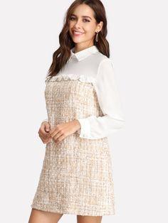 Frilled Detail Mixed Media Dress -SheIn(Sheinside)