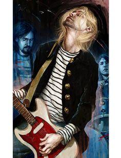 Illustration: Nirvana by Rory Kurtz Nirvana Kurt Cobain, Kurt Cobain Art, Nirvana Band, Art Nirvana, Banda Nirvana, Kurt Cobain Painting, Nirvana Quotes, Nirvana Tattoo, Eddie Vedder