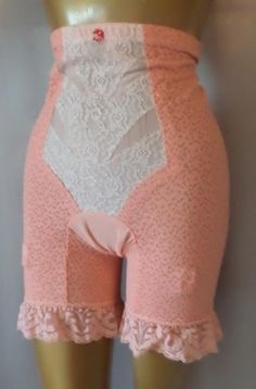 SLIMMING PRETTY PINK LACE Vintage LONG LEG GIRDLE SHAPER PANTIES w/GRTS - XXXXL