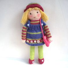 Betsy Button knitted toy doll INSTANT DOWNLOAD PDF by toyshelf