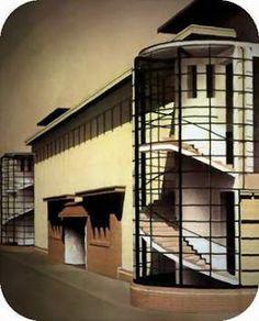 Grobius Meyer, Deutscher Werkbund Pavilion, 1914 Industrial Architecture, Architecture Details, Bauhaus, Art Deco, Walter Gropius, Design Reference, Pavilion, Stairs, Building