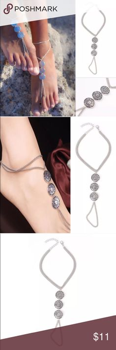 ❗️New❗️Silver Coin Anklet Beach Sandal Jewelry New in package-color-silver tone-material: alloy-length:(22+5cm)-package includes: 1 pc Boutique Jewelry