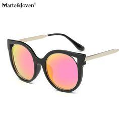 10.25$  Watch here - [Marte&Joven] New Punk Style Women Cat Eye Polarized Eyewear Men Mirror Coating Round Lens Anti-Glare Driving Sunglasses Black   #buymethat