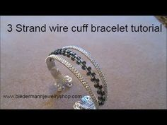 3 Strand Wire cuff bracelet with beads - YouTube