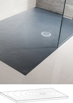 Grey textured slate effect shower tray in Textured Slate Effect | Simpsons - Shower Enclosure Products