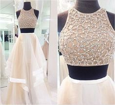 Custom Made Sexy 2 Piece Style Prom Dress, A-Line Prom Dress,High Neck Prom Dress,Tulle Prom Dress , Cheap Prom Dresses 2016 Prom Dress - Thumbnail 2 Prom Dresses Two Piece, Prom Dresses 2016, A Line Prom Dresses, Tulle Prom Dress, Cheap Prom Dresses, Sexy Dresses, Cute Dresses, Evening Dresses, Dress Up