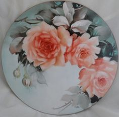 Light Yellow Red Roses on a 10-in. Round Porcelain Tile, HAND PAINTED, Signed