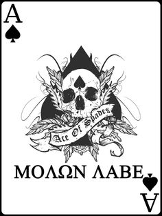 Molon labe, ace of spades Molon Labe Tattoo, Ace Of Spades Tattoo, 3 Percenter Tattoo, Future Tattoos, Tattoos For Guys, Fortes Fortuna Adiuvat, Spade Tattoo, Art Of Manliness, Skin Art