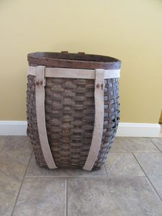 Old Adirondack woven ash pack basket with straps- some wear but solid and beautiful, nicely shaped, vintage by HeathersCollectibles on Etsy