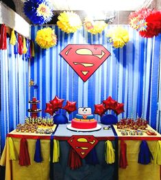 19 Ideas Party Decorations Table Cloths For 2019 Superman Birthday Party, Batman Party, 4th Birthday Parties, Superhero Party, Boy Birthday, Birthday Ideas, Superman Baby Shower, Superhero Baby Shower, Heros Comics