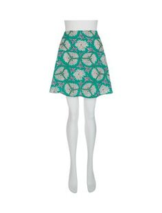 Blue (Blue) Atelier 61 Jade Green Retro Floral Skirt | 286379940 | New Look