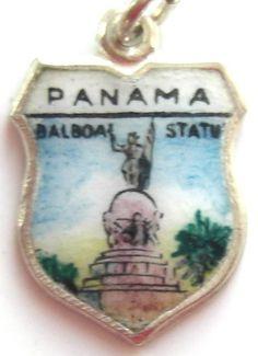 Panama Balboa Statue Vintage Enamel Travel Shield Charm | eBay