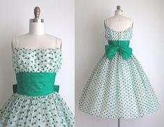 1950s Party Dress / Vintage 1950s Dress / Polka Dot Cocktail