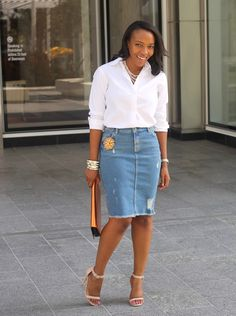 NuSophisticate: Distressed Denim Skirt + White Shirt
