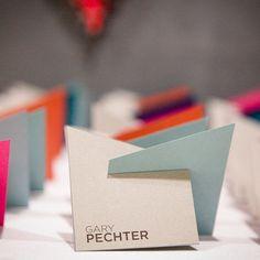 Fresh Escort Card Ideas: Colorful Geometric Escort Cards