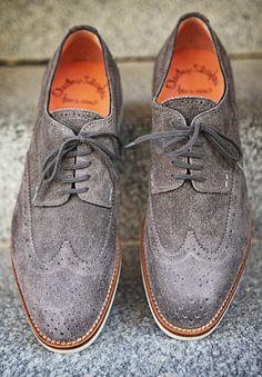 Grey Rough Suede wingtip blucher brogue Santoni