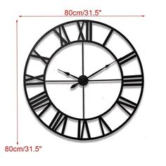 Large Modern Wall Clock - Krafts Black | The Fancy Place Clock Decor, Wall Clocks, Egyptian Tattoo, Metal Clock, Iron Art, Centre Pieces, Simple Elegance, Vintage Walls, Script Tattoos