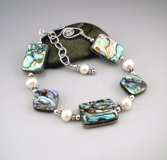 Abalone and White Pearl Bracelet Abalone Shell by TouchOfSilver
