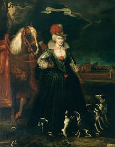 Paul van Somer (c. 1576-1621) (artist) Queen Anne, consort of James I, King of Great Britain (1574-1619) Description:  Full-length portrait of Anne of Denmark, standing, facing half to the right, wearing a blue hunting dress and a hat with red plumes; she restrains five greyhounds on a leash in her left hand, her right on her hip; a black groom holds her horse rear left; Oatlands Palace to the right