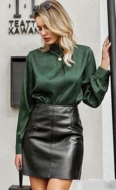 Black Leather Skirts, Sexy Blouse, Latex Dress, Satin Top, Satin Blouses, Leather Fashion, Leather Outfits, Satin Fabric, Dress Skirt