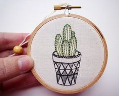 'Cactus 1' - embroidery in hoop by Cheese Before Bedtime on Etsy