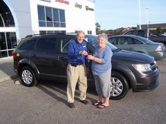 """Glenda from Wilson NC is taking home this 2015 Dodge Journey. Thank you Glenda for your business. Her salesman is Cliff """"Coach"""" Madden"""