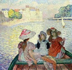 """""""My sisters and Me"""" aka Henri Lebasque (French artist, 1865-1937) Young Girls in a Boat c 1900"""