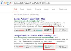 "a snapshot of search results for ""demonstrate popularity and authority on google"" with the number of inbound links and root domains of the top two results highlighted"