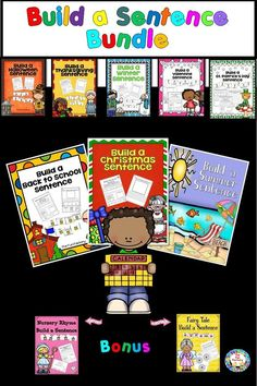 Your kindergarten and first grade students will have fun learning with these Build a Sentence center activities for whole year . There are 10 resources included in this 317 page bundle. Each resource contains 3 differentiated activities: •word and picture cards to build a sentence at a center, •cut and paste worksheets to build a sentence •writing worksheets to build a sentence by writing.